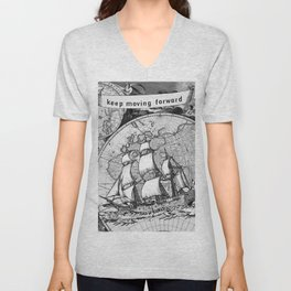 Ship and Map .  Home Decor for Him and Her Unisex V-Neck
