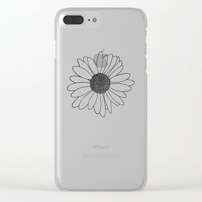 Daisy Grid on Side Clear iPhone Case