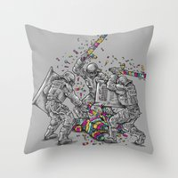 police Throw Pillows featuring Police Brutality by Peter Kramar