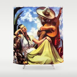 Love and Spanish Guitar (tocaores) in the Sonoran Desert, Señorita romantic portrait painting Shower Curtain
