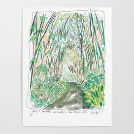 Bamboo Cathedral Sketch - San Marino CA Poster