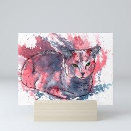 Cat acrylic painting, animal abstract portrait Mini Art Print