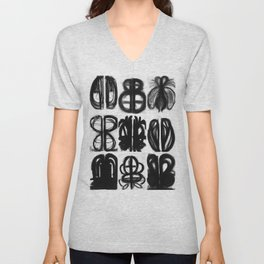 Abstract Charcoal Drawings Unisex V-Neck