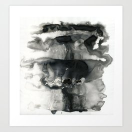 Black and White Abstract Washes Art Print