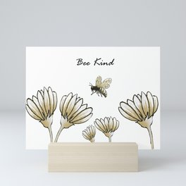 Bee kind buzzy bumble bee with flowers Mini Art Print