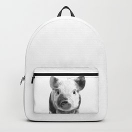 Black and white pig portrait Backpack