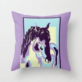 purple horse Throw Pillow