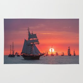 Windjammer with sunset Rug