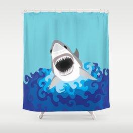 Great White Shark Attack Shower Curtain