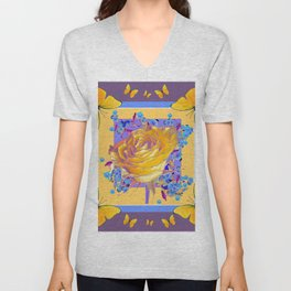 YELLOW BUTTERFLIES ART ROSE FLOWERS PUCE Unisex V-Neck
