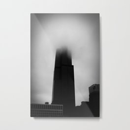 Sears Tower in Fog Chicago Black and White Photo Metal Print