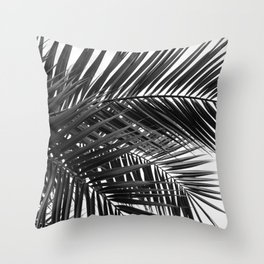 Tropical Palm Leaves - Black and White Nature Photography Throw Pillow