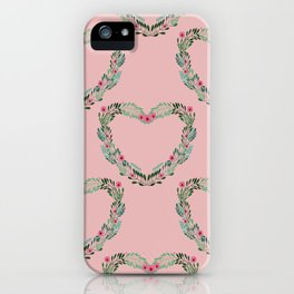 Heart Wreath Hand-painted in Green Ferns and Pink Blossoms on Pink iPhone Case