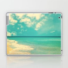 Retro beach and turquoise sky (square) Laptop & iPad Skin