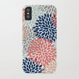 Floral Bloom Print, Living Coral, Pale Aqua Blue, Gray, Navy iPhone Case