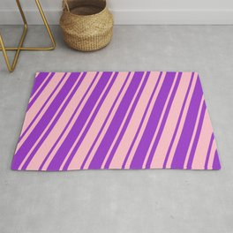Dark Orchid & Pink Colored Lined/Striped Pattern Rug