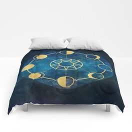 Gold Moon Phases Sun Stars Night Sky Navy Blue Comforters
