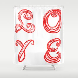 LOVE word art fabric font red letters inspired by Love Park in Philadelphia Shower Curtain