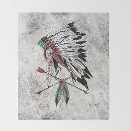 chieftain feather headdress Throw Blanket
