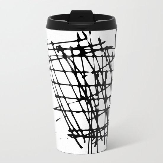 Sketch Black and White Metal Travel Mug