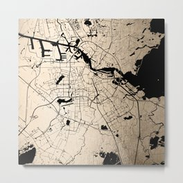 Amsterdam Gold on Black Street Map Metal Print