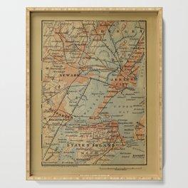 Vintage Jersey City, Newark, Elizabeth NJ Map (1894) Serving Tray