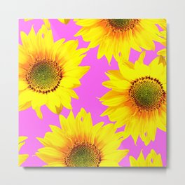 Large Sunflowers on a pink background - #Society6 #buyart Metal Print