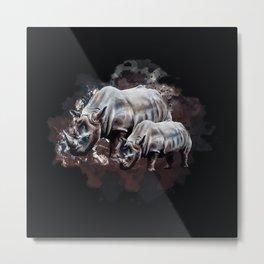 Dangerous Rhino Metal Print