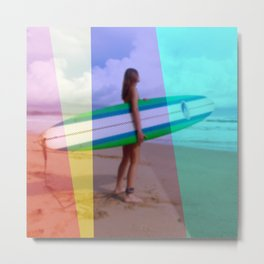 Surfer Girl Surfing Metal Print