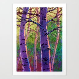 Poplars in winter at the sunset Art Print