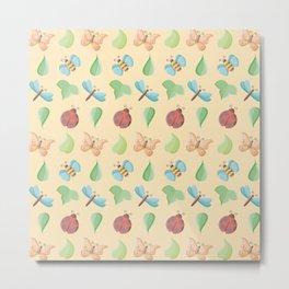 Cute Little Bugs & Leaves Pattern Metal Print