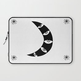 Black Crescent Moon and Stars on white Laptop Sleeve