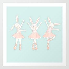 Ballerina bunnies minty blue Art Print