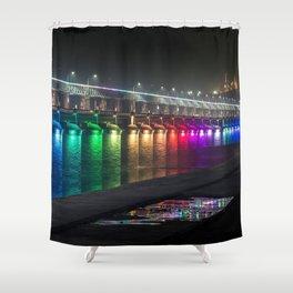 Beautifully Colorful Krishna River Bridge Vijayawada India Asia Ultra High Resolution Shower Curtain