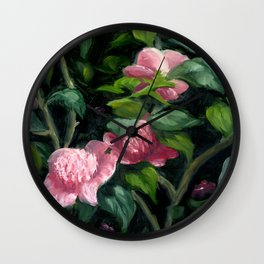 Japanese Camellia Floral Impressionist Oil Wall Clock