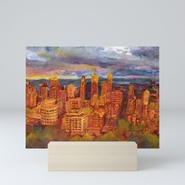 Montreal from Mont Royal during Sunset Mini Art Print