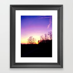 School Sunset Purple & Yellow Framed Art Print