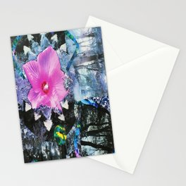 Pink Hibiscus Black and White Landscape Collage Stationery Cards