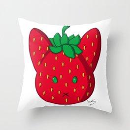 Fruit bunnies: strawberry Black symbol Throw Pillow