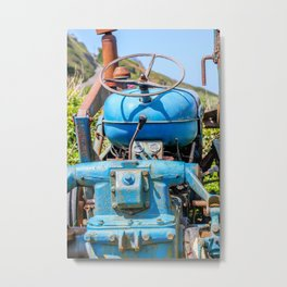 Port Gaverne - Old Blue Tractor Metal Print