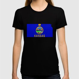 Kansas Map with Kansas State Flag T-shirt