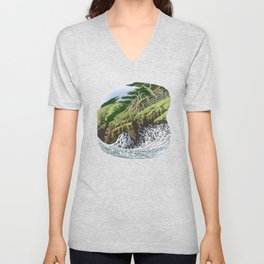 CYPRESS TREES AND BIG WAVE OF NORTHERN CALIFORNIA COAST Unisex V-Neck