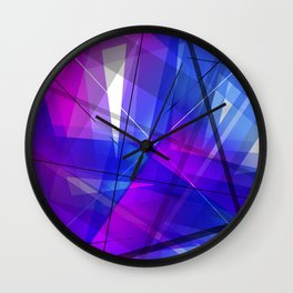 Transparent Shapes Blue and Pink Geometric Abstract Art Wall Clock
