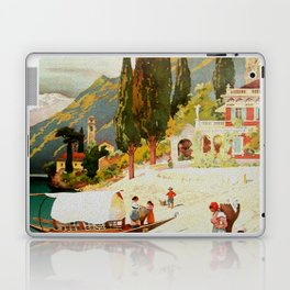 Switzerland and Italy Via St. Gotthard Travel Poster Laptop & iPad Skin