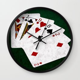 Poker Hand One Pair Jack Eight Nine Two Wall Clock