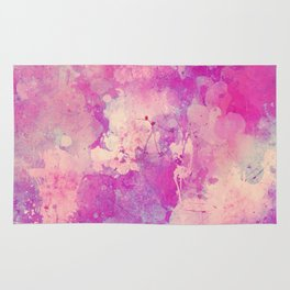 Abstract pink ivory teal watercolor brushstrokes pattern Rug