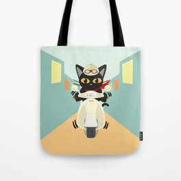 Scooter in the town Tote Bag