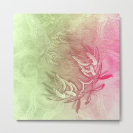 Pink and green wattle and kaleidoscope Metal Print
