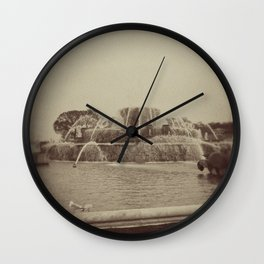 Chicago Buckingham Fountain Sepia Photo Wall Clock