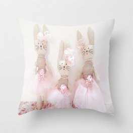Bunnies Pretty in Pink Throw Pillow